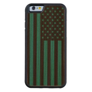 木製の穀物の米国旗 CarvedチェリーiPhone 6バンパーケース
