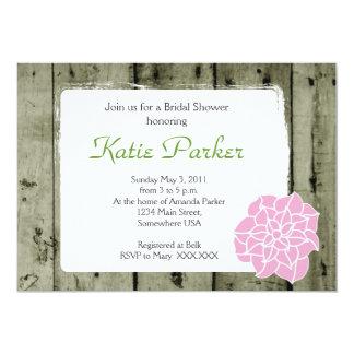 木製の素朴なピンクの花 カード