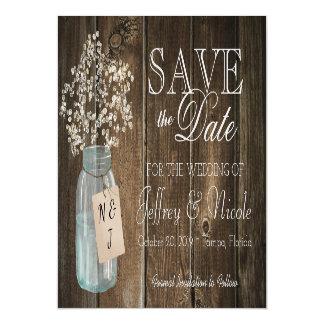 木製の素朴な国の納屋の結婚式の保存の日付 マグネットカード