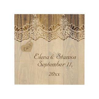 木製の素朴な結婚式の白いレース及びハート ウッドウォールアート