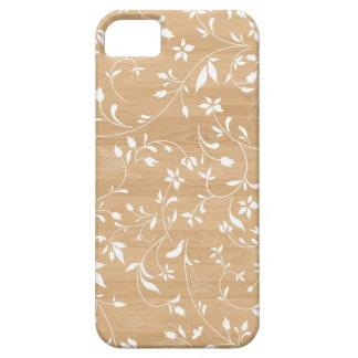 木製の背景の花柄の渦巻の素朴でシックなパターン iPhone SE/5/5s ケース