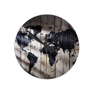 木製の質の世界地図 ラウンド壁時計