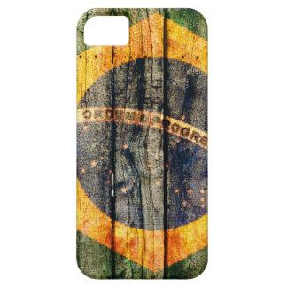 木製の質の背景のブラジルの旗 iPhone SE/5/5s ケース