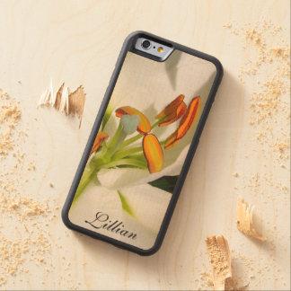 木製のiPhone6ケースの*Personalize*の白いユリ CarvedメープルiPhone 6バンパーケース