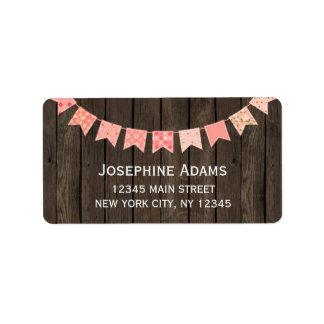 木製ピンクの旗布の宛名ラベル ラベル