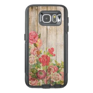 木製ヴィンテージの素朴でロマンチックなバラ オッターボックスSamsung GALAXY S6ケース