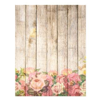 木製ヴィンテージの素朴でロマンチックなバラ レターヘッド