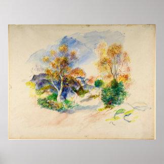 木間の道とのAugusteルノアールの景色 ポスター