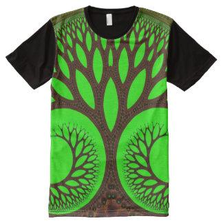 木2の抽象芸術の素晴らしいフラクタル オールオーバープリントT シャツ