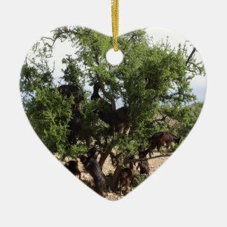 木-アルガンの木、モロッコのヤギ セラミックオーナメント
