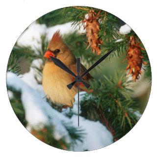 木、イリノイの北の(鳥)ショウジョウコウカンチョウ ラージ壁時計