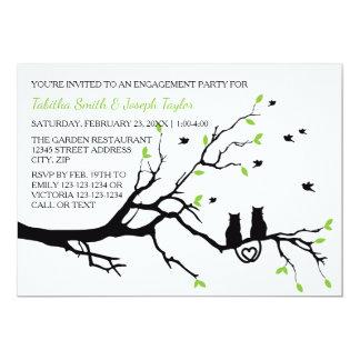 木-婚約パーティの招待状の猫 カード