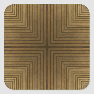 木|床|万華鏡のように千変万化するパターン|パターン 正方形シール・ステッカー