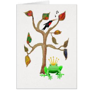 木、歌う鳥および緑カエルのイラストレーション カード