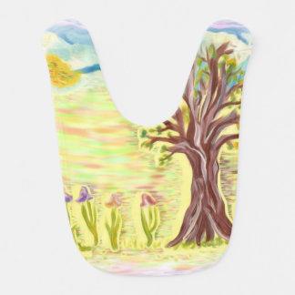 木、花、空の手の絵画のベビー用ビブ ベビービブ