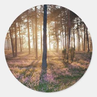 木|野生|森林|床 丸形シールステッカー