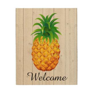 木- SRFの歓迎されたパイナップル ウッドウォールアート