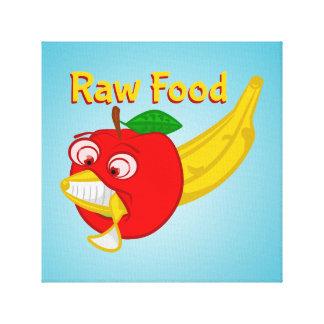 未加工食糧食糧戦いAppleはバナナを作詩します キャンバスプリント