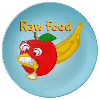 未加工食糧食糧戦いAppleはバナナを作詩します 磁器プレート