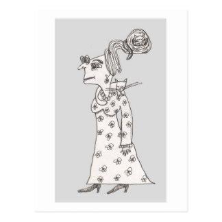 未婚の女性Agnusおよび睡眠猫 ポストカード