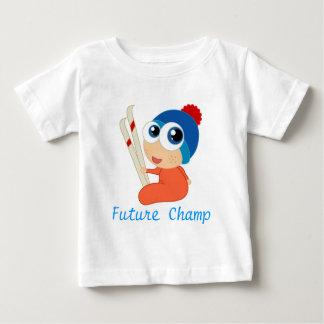 未来のスキーチャンピオンのベビーのTシャツ ベビーTシャツ