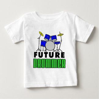 未来のドラマーの青いドラムセット ベビーTシャツ