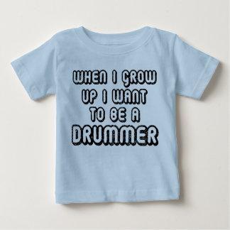未来のドラマー音楽ベビーのTシャツ ベビーTシャツ