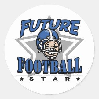 未来のフットボールのスター選手の青ヘルメット 丸形シール・ステッカー