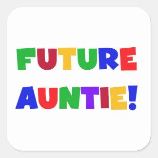 未来の伯母さん原色のTシャツおよびギフト スクエアシール