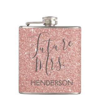未来の夫人のRose Gold Blush Pinkの輝きのグリッター フラスク