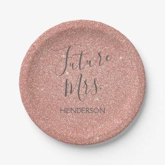 未来の夫人のRose Gold Blush Pinkの輝きのグリッター ペーパープレート