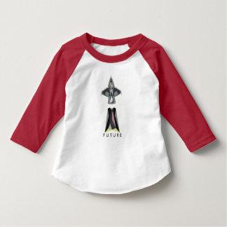 未来の宇宙船のテーマの幼児の野球のティー Tシャツ