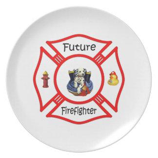 未来の消防士の赤のマルチーズ プレート