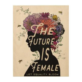未来は女性-木製のパネルです ウッドウォールアート