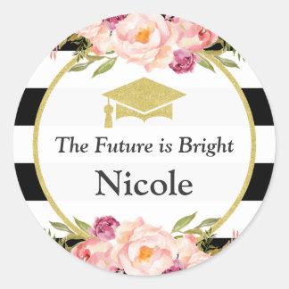 未来は明るい 花の魅力の卒業生の好意です ラウンドシール
