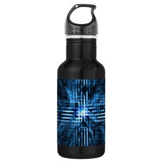 、未来派の回路、格子…青線形 ウォーターボトル