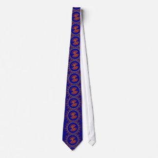 未来派の青およびオレンジ技術ディスクフラクタル オリジナルネクタイ