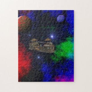 未来派STEAMPUNKの船旅行銀河系のパズル ジグソーパズル