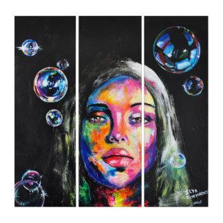 未知の女の子および石鹸の泡 トリプティカ