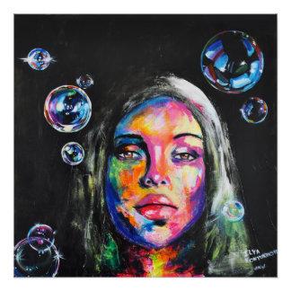 未知の女の子および石鹸の泡 ポスター