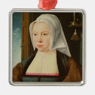 未知の女性のポートレート、1527年(パネルの油) シルバーカラー正方形オーナメント