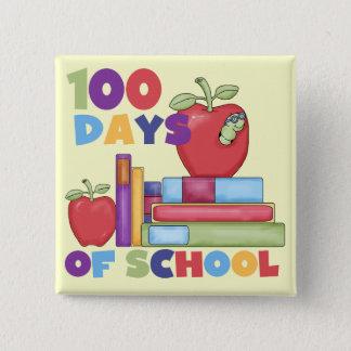 本およびりんご100日の学校のTシャツ 5.1CM 正方形バッジ
