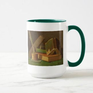 本およびインク井戸が付いている静物画 マグカップ