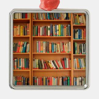 本だなは図書館の本の虫の読書を予約します メタルオーナメント
