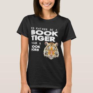 本のトラ=愛書家-本みみず Tシャツ