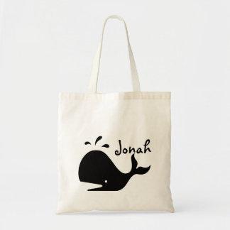 本のトートバックはジョナー名前入りなJonahsのクジラを袋に入れます トートバッグ