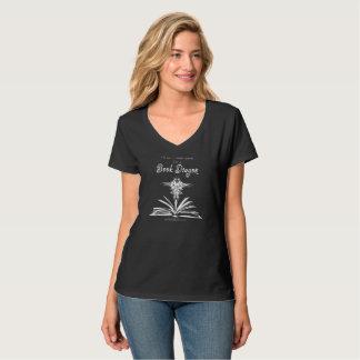 本のドラゴンの暗いV首のティー Tシャツ