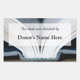 本の寄付のステッカー 長方形シール