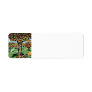 本の木の宛名ラベル ラベル