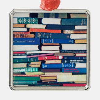 本の積み重ね シルバーカラー正方形オーナメント